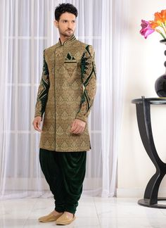 Wedding Wear Green Pakistani Designer Sherwani - Wedding And Engagement Indian Wedding Clothes For Men, Wedding Dress Men, Wedding Dresses Photos, Indian Wedding Outfits, Wedding Wear, Indian Weddings, Wedding Groom, Indian Outfits, Engagement Dress For Groom