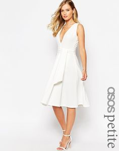 ASOS PETITE Midi Dress in Texture with Plunge Neck and Tie Belt