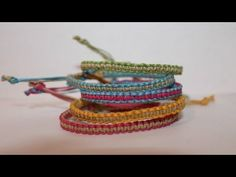 Two-Colored Square Knot Friendship Bracelet - YouTube