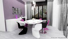 Zona de luat masa este un punct de atractie al acestui decor. Culorile combinate ale scaunelor dau un plus de sofisticare acestei zone. Amenajare vila Cernica - Familia C. - Art Deco Zone & Knox Design - Amenajari interioare Bucuresti. www.artdecozone.ro, #decorsufragerie, #amenajarisufragerii, #scaunecolorate Art Deco, Curtains, Shower, Dining, Rain Shower Heads, Blinds, Food, Showers, Draping