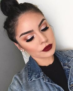 Maquiagem Passo a Passo - Maquiagem Profissional - Maquiagem para Festas - Maquiagem para Casamento - Maquiagem para Formaturas - Maquiagem para Noivas Bold Lip Makeup, Glam Makeup Look, Gorgeous Makeup, Skin Makeup, Awesome Makeup, Prom Makeup Looks, Fall Makeup Looks, Cute Makeup Looks, Make Up Kurs