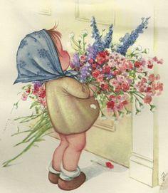 Muñequita con flores