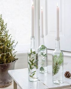 Glass bottles filled with water and branches as candlesticks- Glasflaschen gefüllt mit Wasser und Zweigen als Kerzenhalter Glass bottles filled with water and branches as candlesticks - Wedding Centerpieces, Wedding Table, Centerpiece Ideas, Greenery Centerpiece, Wedding Reception, Wine Bottle Centerpieces, Decorating Your Home, Diy Home Decor, Holiday Decorating