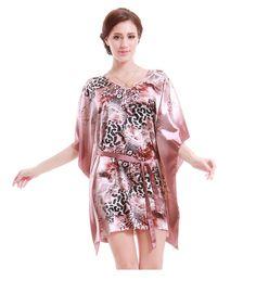 Women Long Batwing Sleeve Nightgowns Soft Silk Leopard Printed Night Gown  Robe For Women s Sleepwear V Neck Sleepshirts 418fec233