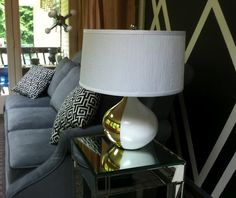 Decor4poor: DIY Glam Lamp, paint half of a goodwill brass lamp