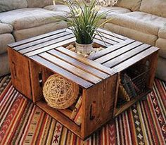 crate coffee table 10 Useful DIY Home Projects Wine Crate Coffee Table, Wood Crate Table, Wood Crate Shelves, Pallet Tables, Coffee Table Made From Crates, Apple Crate Shelves, Crate Bookshelf, Wood Tables, Pallet Shelves