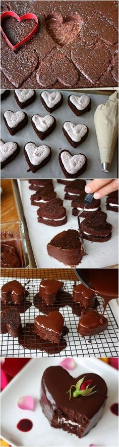 Heart Shaped Chocolate Raspberry Cakes. My husband would love these for Valentine's Day!!