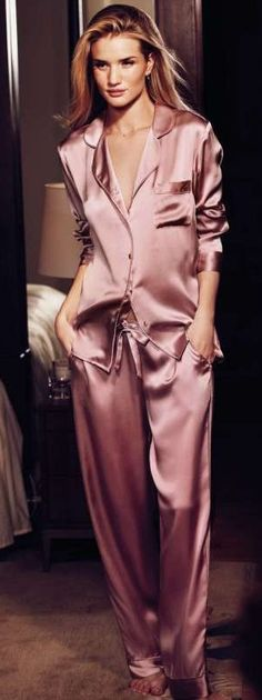 Rosie Huntington-Whiteley for Marks & Spencer Love this silk pajama /lounger set..... Specially this old rose color