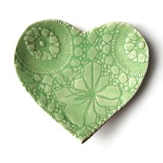 Spring Love Heart Plate Hand built Lace Pottery Key Lime green stoneware Serving, ring bowl or soap dish Handmade cupcake plate Gift