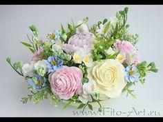 Создание цветочной композиции для украшения обеденного стола - YouTube