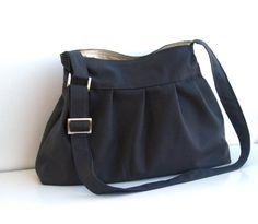 Grey Messenger Bag-Canvas Shoulder Bag-Large-Pleated-ADJUSTABLE TO STRAPS. $35.00, via Etsy.