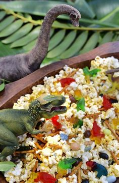 Dinosaur Snack Mix for a Dinosaur Party - - Dinosaur snack mix recipe that's the perfect treat for a dinosaur party, dinosaur movie night, or a fun treat for the little dinosaur lover in your life! Birthday Party At Park, Dinosaur Birthday Party, Birthday Party Themes, 3rd Birthday, Birthday Ideas, Dinosaur Party Favors, Elmo Party, Mickey Party, Birthday Snacks