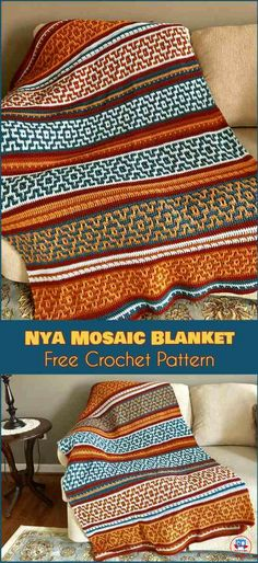 NYA Mosaic Blanket - Free Crochet Pattern. The Nya Mosaic Blanket is a novel application of basic crochet stitches. The size is arbitrary, and can be adjusted to fit any need. The colors for the pattern are only limited by your imagination. #freecrochetpatterns #crochetblanket #nyamosaicblanket