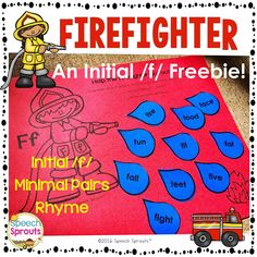 Initial /f/ Firefighter Craftivity Teach words beginning with the letter F rhyme and articulation too! Great activity for fire safety week for literacy centers or speech therapy. Firefighter Craftivity: Initial F Freebie Cut out the water drops and glue them in front of the fire hose to douse the fire! There are girl or boy firefighters and I've included 3 sets of water drops for you. There are 10 words beginning with /f/and 5 rhyming pairs (minimal pairs for you SLPs) Does it start with…