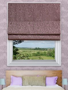 Elspeth Plum Roman Blinds - The Elspeth roman blind range can be made with standard or blackout lining. The blackout lining can only be made with roman blinds with a deluxe headrail system. With the deluxe system you can also have the blind made with a White, Antique, Black or Chrome control chain.
