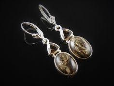 Black Golden Seraphinite & Smoky Topaz Sterling Silver Earrings