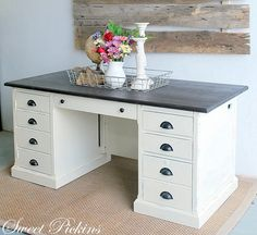 love the wood top and painted amp distressed bottom must