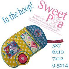 Caravan zipper case 5x7 6x10 7x12 and 9.5x14 in the hoop machine embroidery design