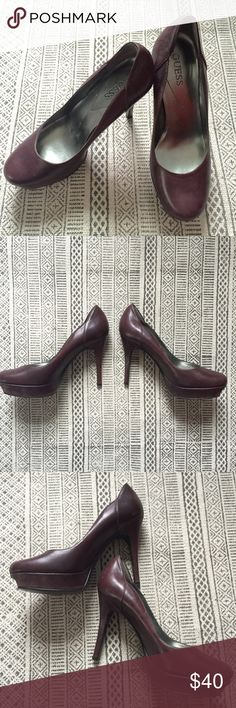 *24 HOUR SALE* Guess Leather 4.5in High Heels Worn a few times, but these brown 4.5in Guess shoes are super comfortable. Perfect for a spring or fall party, an office or a date night! Size 8.5 Guess Shoes Heels