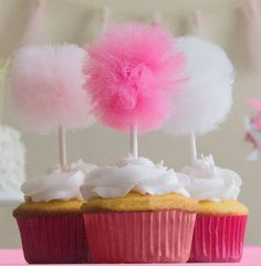 Pink ombre perfection! This listing is for a set of 12 pink ombre pom pom cupcake toppers. Each pom pom is a gathering of fluffy pink, blush, or white tulle that is secured to a white pick. Add to your favorite cupcakes or desserts to make your party pop!! Perfect for pink theme parties, wedding decorations, baby showers and more!!  I am also happy to accept custom orders. If you have different colors in mind for your theme, or need a larger quantity, please send me a message and I can…