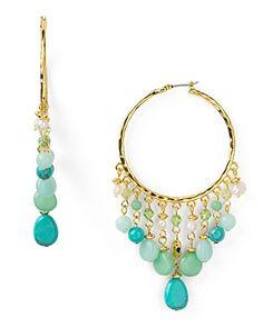 Lauren Ralph Lauren Green Valley Beaded Gypsy Earrings