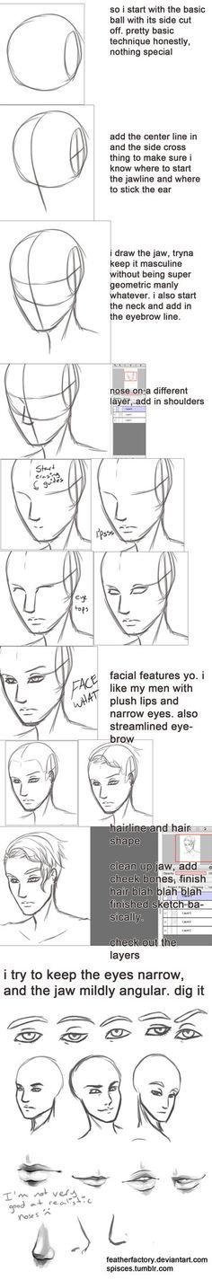 not really a tutorial, but y'know just sharing what i've learned so far about making pretty men faces i sketch and do lines in FireAlpaca because it has that cool correction function that smooths l...