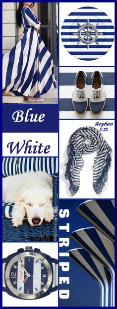 '' Striped - Blue & White '' by Reyhan S.D.