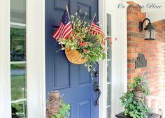 Beautiful Front Door and Decor! #patriotic #door #porch