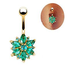 Sanwood® Beautiful Flower Cubic Zirconia Belly Button Bar Barbell Navel Ring Body Piercing Jewelry (Golden + Green) Phoenix b2c