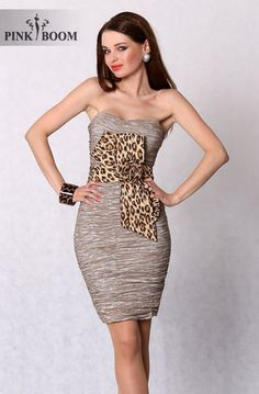 Brown Pleated Dress with Camouflage Motif