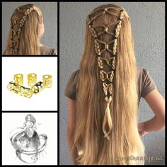Halfup hairstyle with bead cuffs from the webshop www.goudhaartje.nl (worldwide…