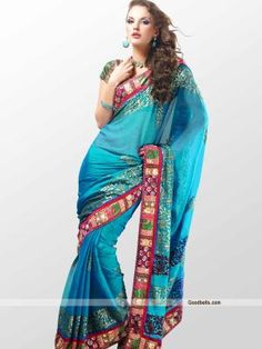 Simple and sober look saree designed with traditional pattern foil prints all over. Multi pattern patch border gives the rich look. It will look good for semi-formal parties. http://goodbells.com/saree/sober-pattern-blue-shade-saree.html?utm_source=pinterest_medium=link_campaign=pin18julyR0P492