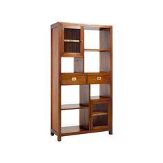 #Librería de #madera, con 2 cajones y 2 puertas de #cristal con estantes.