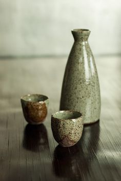 nom living (commercial) |  Sake serving-set in celadon grey glaze.