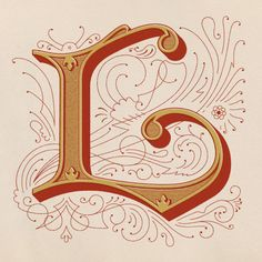"Beautifully ornamented initial ""L"" by Drew Melton."