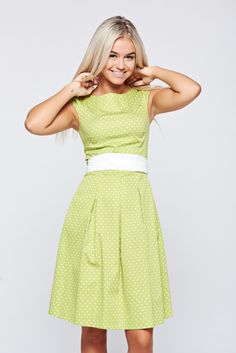 LaDonna cloche lightgreen cotton dress dots print, accessorized with tied waistband, short sleeves, with dots print, back zipper fastening, slightly elastic cotton