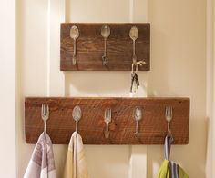 Vintage silverware repurposed as a towel or key rack repinned by www ...