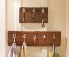 Vintage silverware repurposed as a towel or key rack repinned by www ...