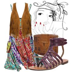 Idea for how to use my mom's vest!  Add bright colored dress under neath with brown sandals that match the best.  Love it!