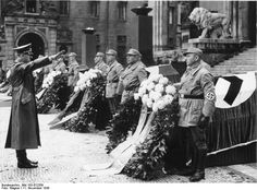 Hitler pays his last respects to those killed during an assassination attempt against him on November 8, 1939.
