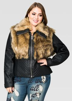 ceb9666cfb8 Fur Front Moto Jacket Fur Front Moto Jacket Fashionable Plus Size Clothing