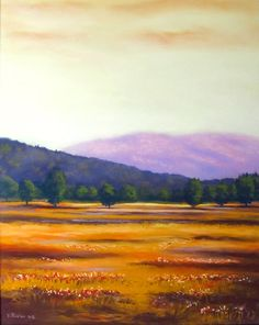 Original landscape painting - soft pastel - flower landscape and mountains - 16x20 inches.