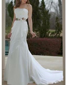 3d307b082fc5 Strapless Chiffon Ruffles Flowers Sash Sweep Train Empire Wedding Dress  Wedding Dress Chiffon