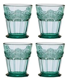 Another great find on #zulily! Teal Rococo Double Old-Fashioned Glass - Set of Four #zulilyfinds