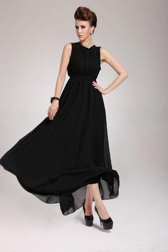 Chiffon Expansion Dress - Black Long Modest Dress – modliph.com #dress #modest
