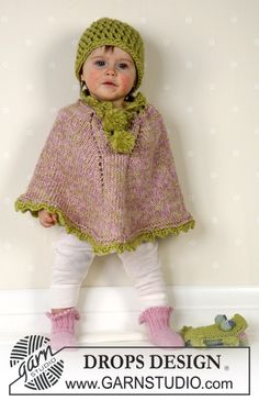 Little Sprout - Knitted poncho with pompons and socks in DROPS Alpaca, and crochet hat in DROPS Eskimo. Available in baby and children sizes. - Free pattern by DROPS Design Baby Knitting Patterns, Baby Sweater Knitting Pattern, Knitted Poncho, Knitting For Kids, Easy Crochet Patterns, Baby Patterns, Free Knitting, Toddler Poncho, Drops Baby