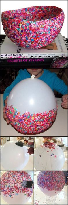 How To Make A Bowl From Confetti http://craft.ideas2live4.com/2015/03/23/confetti-bowl/ Looking for something creative for the kids to make? Try this easy to make confetti bowl for their first project! Could this be your next project with the kids?