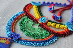 Freeform Crochet Necklace - Red Turquoise Blue Yellow Orange Green