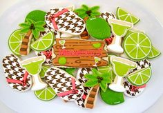 Wasting Away Again in Margaritaville Cookies with Houndstooth Sandals and lovely shiny limes! More beautiful 'works of art' cookies by Sugarbelle!