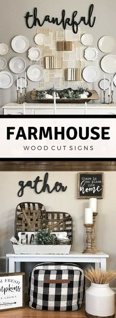 Feather and Birch Shop {Etsy} || These words are perfect for your mantel, kitchen, living room, or on your porch or patio. Stained, painted or unfinished for a wonderful look. GORGEOUS signs, perfect for any home. Farmhouse signs, farmhouse home decor, farmhouse living room, farmhouse dining, farmhouse kitchen, farmhouse fall decor